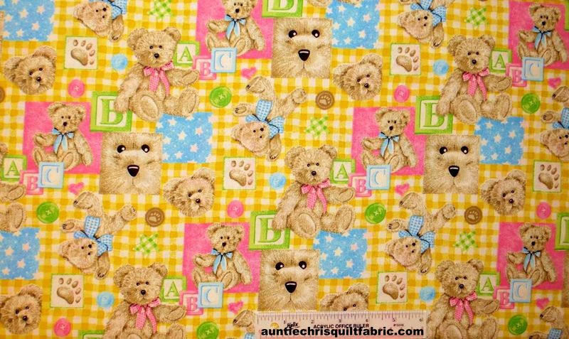Cotton Quilt Fabric Boyds Bears Nursery Baby Pastels Blocks SPX Fabrics - product images  of