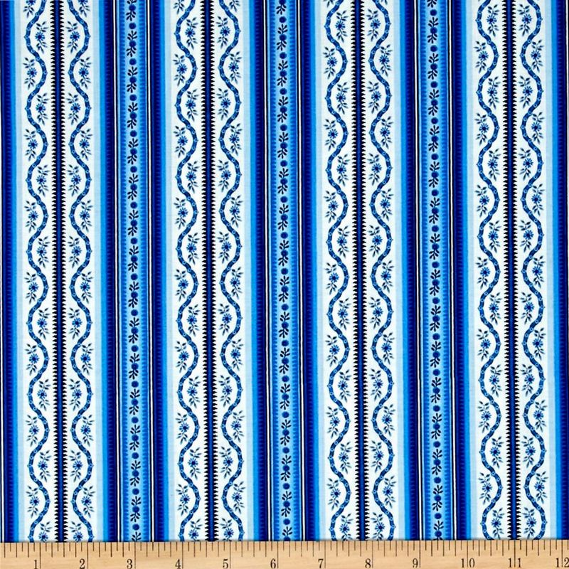 Cotton Quilt Fabric Botanica III The Royal Story Stripe White/Royal - product images  of