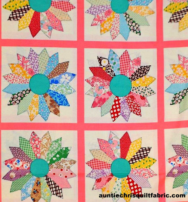Cotton Quilt Fabric Panel Thirties Tick Tack Piece Work Pink Japan   - product images  of