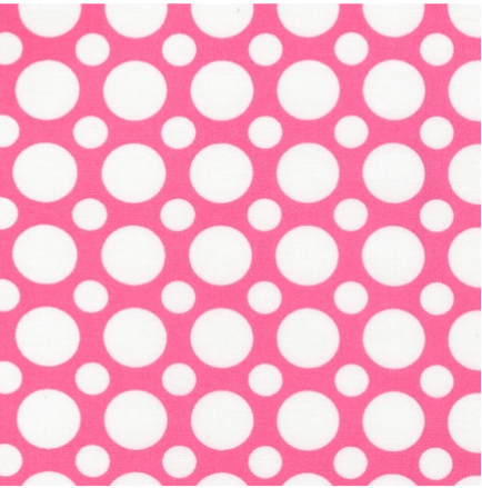 Cotton Quilt Fabric Spot On Multi Size Dots Dark Pink White - product images  of