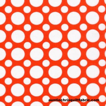 Cotton Quilt Fabric Spot On Multi Size Dots Orange Tangerine White - product images  of