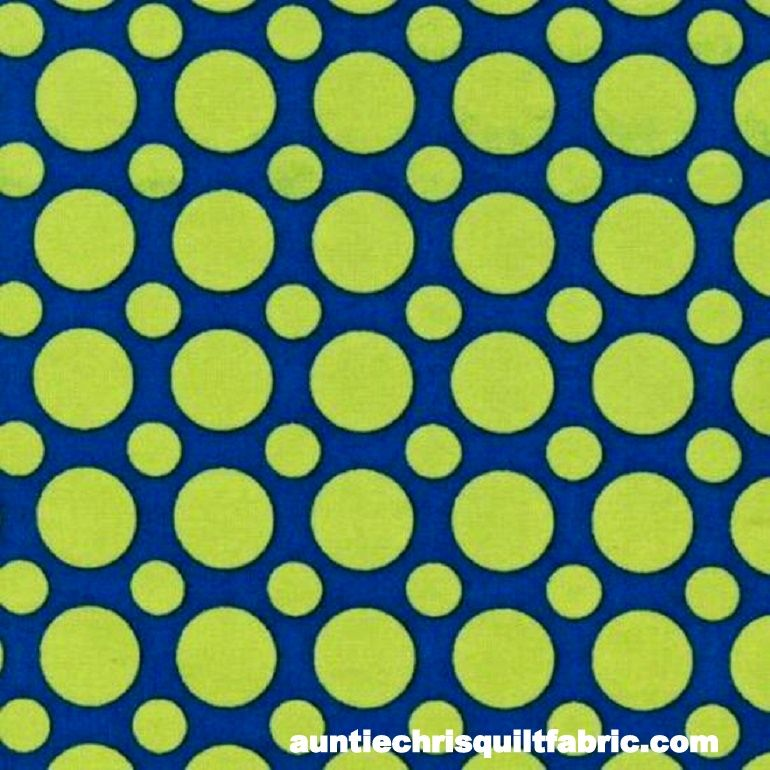 Cotton Quilt Fabric Spot On Multi Size Dots Sapphire Blue Lime - product images  of