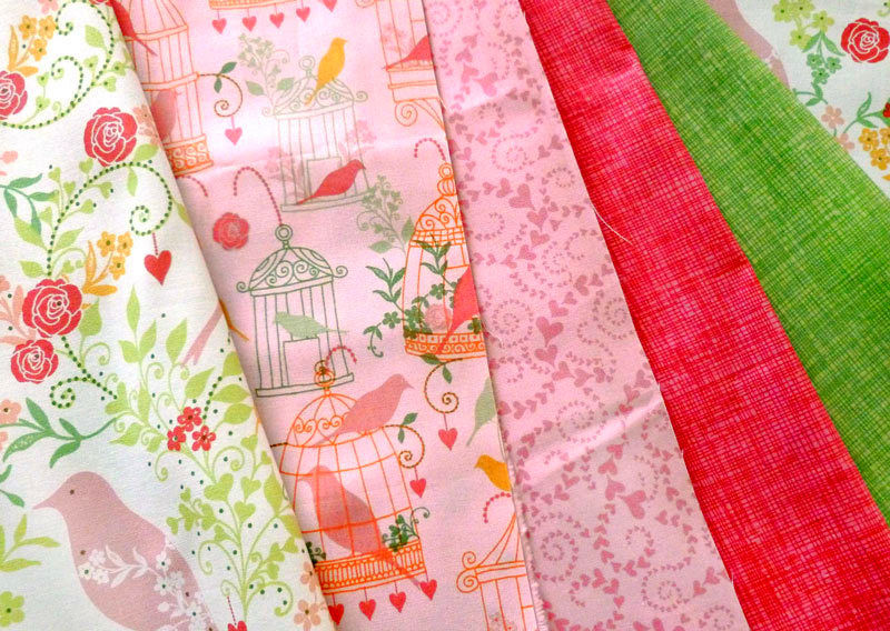 Cotton Quilt Fabric Birdsong Floral Birdcages Whimsical Pink Multi - product images  of
