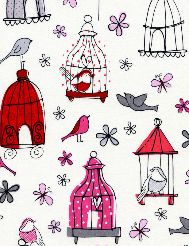 Cotton Quilt Fabric  Bird Cages FUN-C3879  Whimsical Butterfly Floral - product images  of