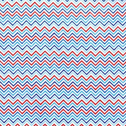 Cotton Quilt Fabric Mini Red White Blue Chevron Patriotic C1044. - product images  of