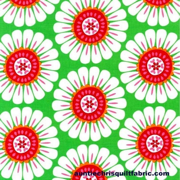 Cotton Quilt Fabric Michael Miller Holiday Courtney Green Large Floral Folkloric - product images  of