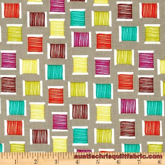 Cotton Quilt Fabric Michael Miller Love to Sew Cool Spools Stone - product images  of