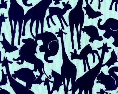 Cotton Quilt Fabric Oh Baby Animal Silhouettes Zoo Animals  - product images  of