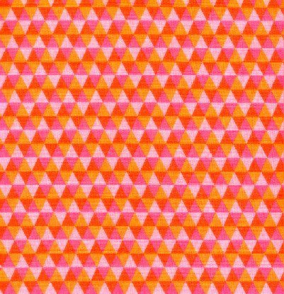 Cotton Quilt Fabric Polygon Watermelon Pink Orange Geometric - product images  of