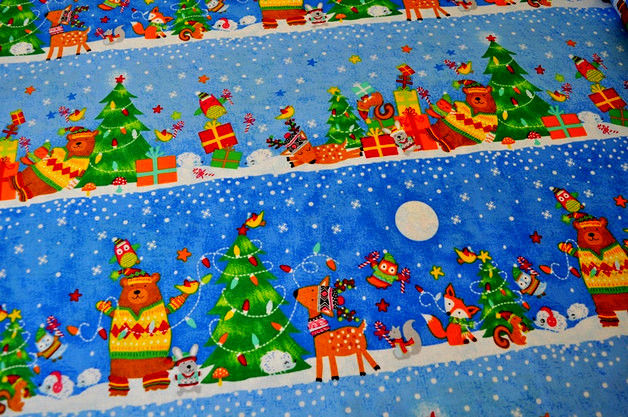 Cotton Quilt Fabric Christmas Blue Snow Day Stripe Kids c4543 - product images  of
