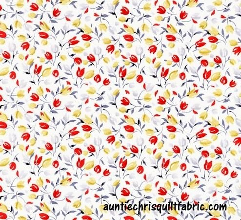 Cotton Quilt Fabric Ivory Tulips Velo Small Floral Off White Multi c4297 - product images  of