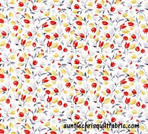 Cotton,Quilt,Fabric,Ivory,Tulips,Velo,Small,Floral,Off,White,Multi,c4297,,quilt backing, dresses, quilt fabric,cotton material,auntie chris quilt,sewing,crafts,quilting,online fabric,sale fabric