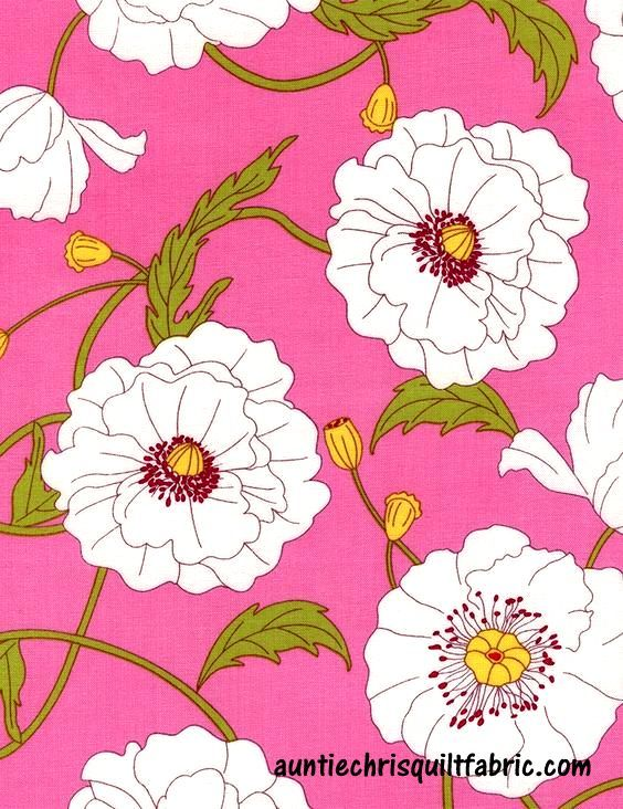 Cotton Quilt Fabric Tribeca Large Floral Poppies Pink c3435 - product images  of