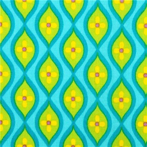 Cotton Quilt Fabric Petalmania Floral Ogee Turquoise Timeless Treasures  - product images  of