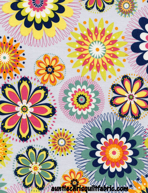 Cotton Quilt Fabric Pinwheel Floral Medallions Fun C4766-Dove Multi - product images  of