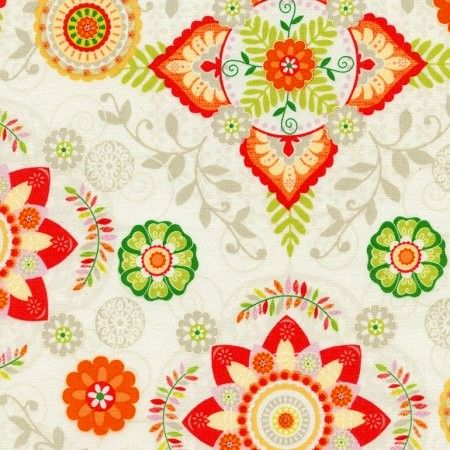 Cotton Quilt Fabric Safari Animals Floral Medallions C4314-Cream Multi - product images  of