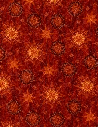 Cotton Quilt Fabric Seasonal Portraits Brick Red Mariners Compass - product images  of