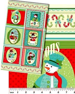 "Cotton Quilt Fabric Happy Holidays Snowmen Christmas Panel 23"" #4571 - product images  of"