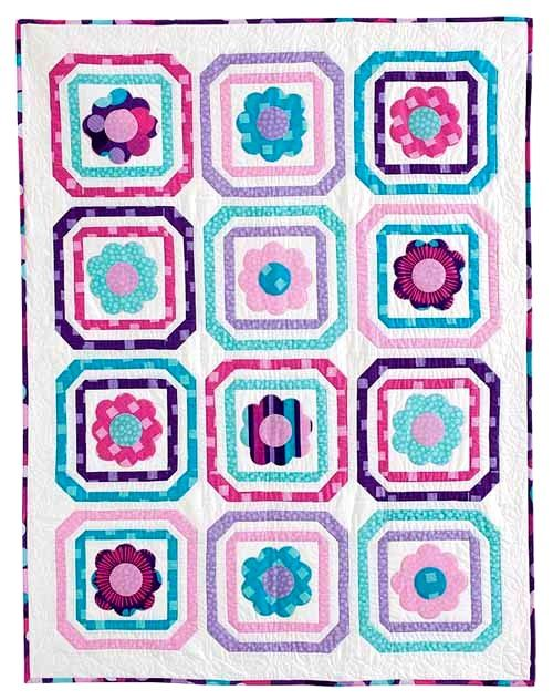 Mod Girl Quilt Kit Girls Teens Floral Blue Purple 51