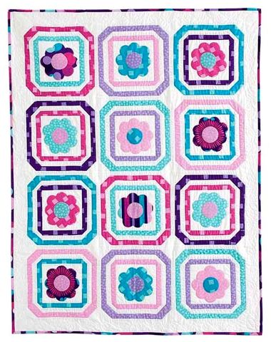 Mod,Girl,Quilt,Kit,Girls,Teens,Floral,Blue,Purple,51,x,66,kit,quilt fabric,cotton material,auntie chris quilt,sewing,crafts,quilting,online fabric,sale fabric