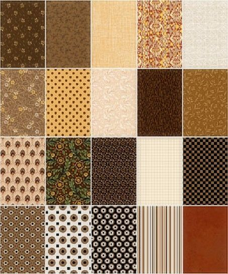 Cotton Quilt Fabric Fat Quarter Medley Brilliant Browns 5 Yards - product images  of