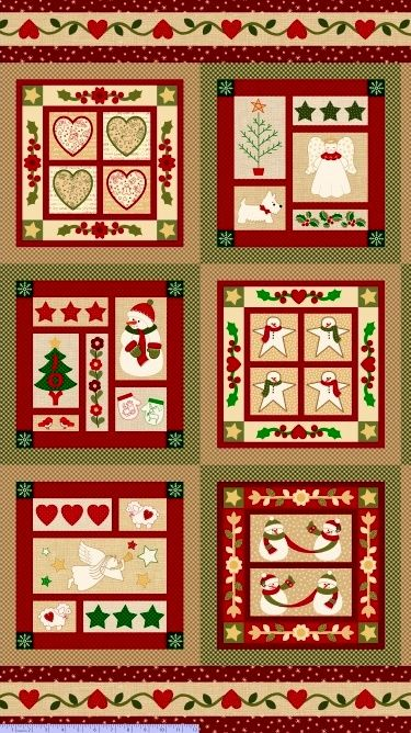 Cotton Quilt Fabric Wrapped In Joy Christmas Panel - product images  of