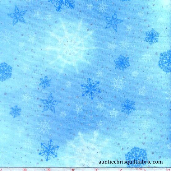 Cotton Quilt Fabric Christmas Radiant Holiday Frost Snowflake Stars - product images  of