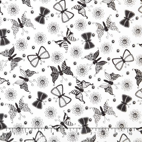 Cotton,Quilt,Fabric,Ink,Blossoms,Butterflies,Black,White,,quilt backing, dresses, quilt fabric,cotton material,auntie chris quilt,sewing,crafts,quilting,online fabric,sale fabric
