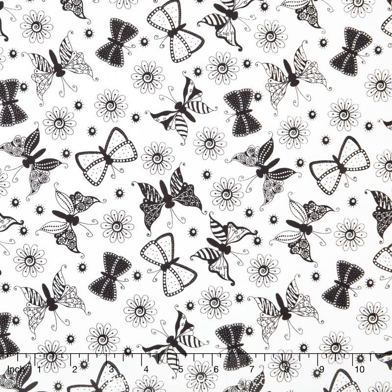 Cotton Quilt Fabric Ink Blossoms Butterflies Black White