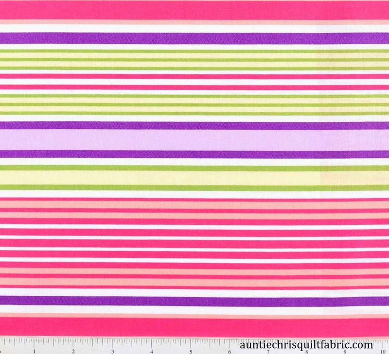 Cotton Quilt Fabric The Sultons Garden Feminine Stripe Multi Pastel - product images  of