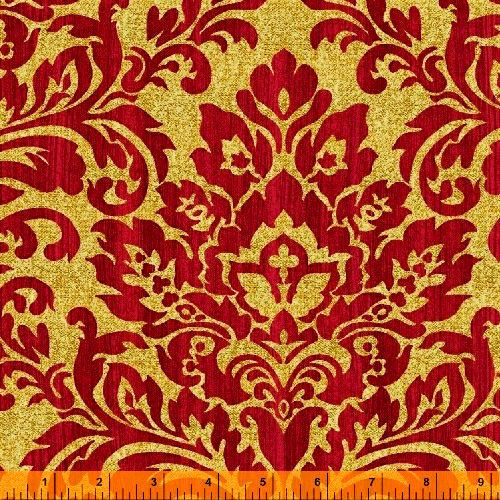 Cotton Quilt Fabric Christmas Damask Holiday Elegance Gold Metallic Red - product images  of