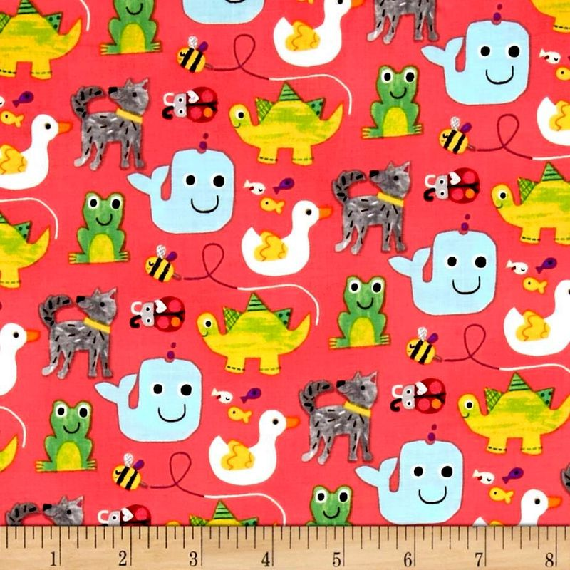 Cotton Quilt Fabric Colors And Count Fun Animals Frog Duck Bee - product images  of