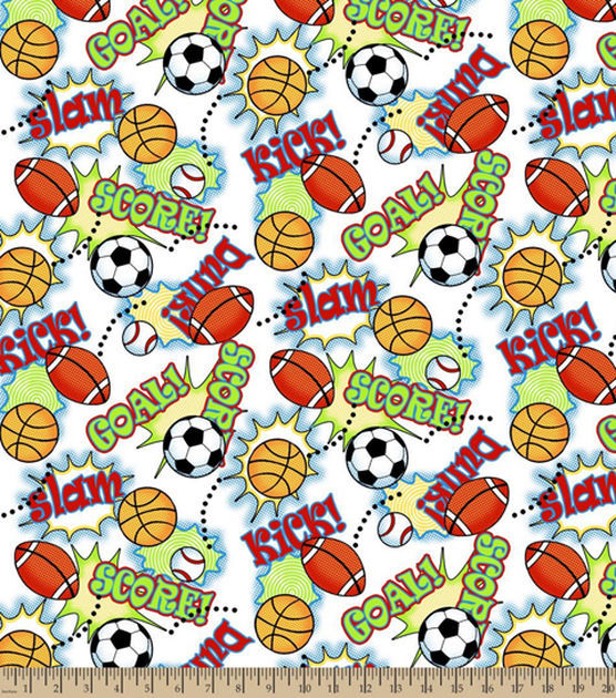 Good Buy Cotton Flannel Quilt Fabric Snuggle Game On Sports  - product images  of
