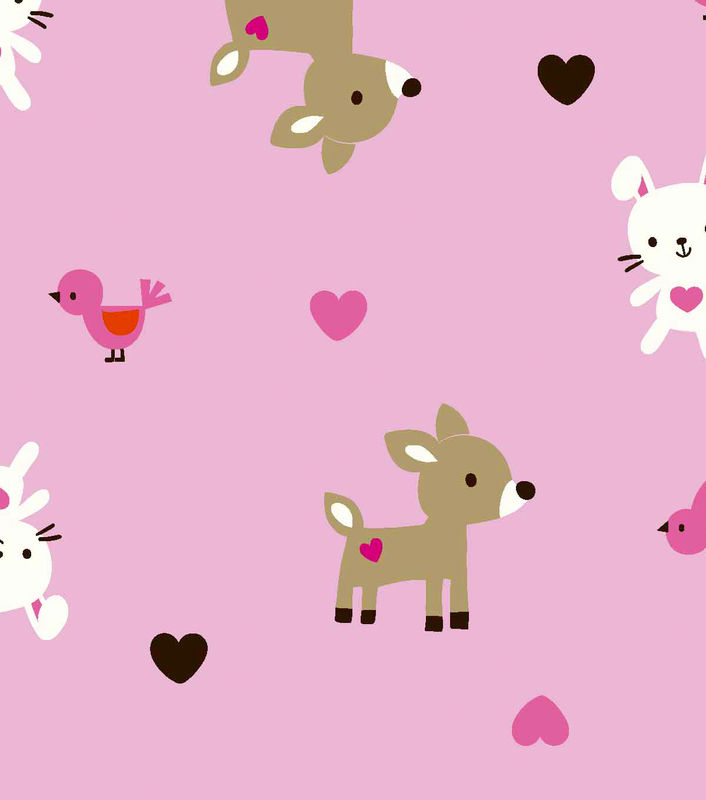 Cotton Flannel Quilt Fabric Snuggle Pink Woodland Babies - product images  of