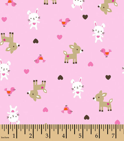 Cotton,Flannel,Quilt,Fabric,Snuggle,Pink,Woodland,Babies,,quilt backing, dresses, quilt fabric,cotton material,auntie chris quilt,sewing,crafts,quilting,online fabric,sale fabric