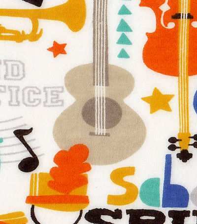 Cotton Flannel Quilt Fabric Snuggle Marching Band Music Instruments - product image