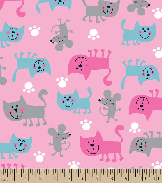 Cotton Flannel Quilt Fabric Snuggle Pink Cats And Mice Kittens Girls - product images  of