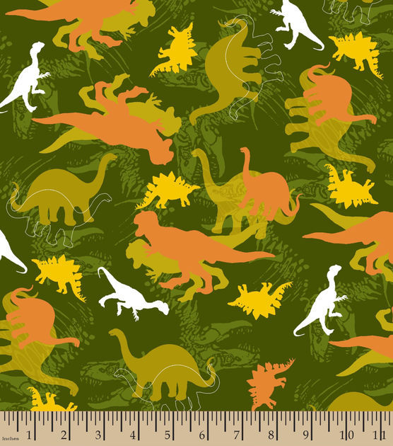 Cotton Flannel Quilt Fabric Snuggle Dino Camo Dinosaurs - product images  of