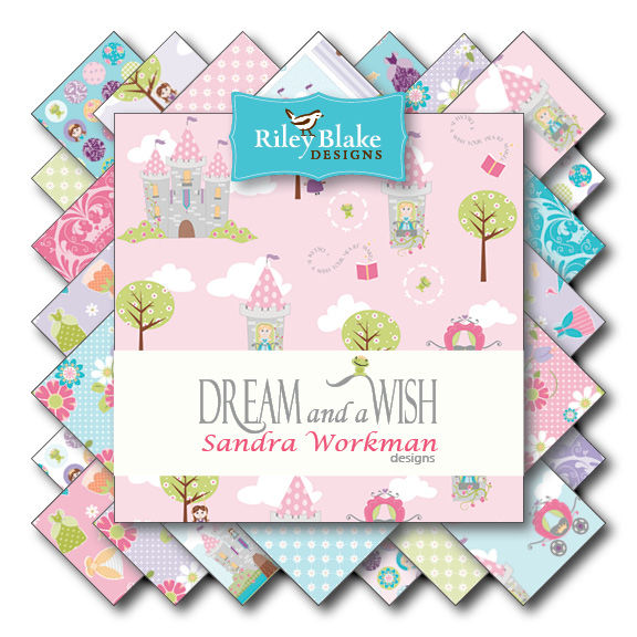 Cotton Quilt Fabric Dream And A Wish Blue Dots Princesses Floral Blue - product images  of