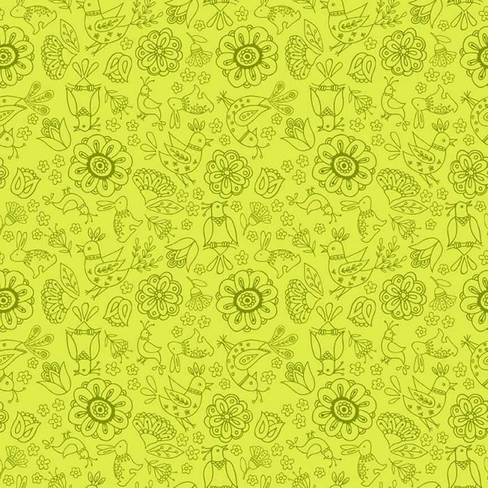 Cotton Quilt Fabric Dutch Treat Green Floral Tone On Tone Birds Floral - product images  of