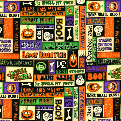 Cotton,Quilt,Fabric,A,Haunting,We,Will,Go,Halloween,Patches,Dan,Morris,,quilt backing, dresses, quilt fabric,cotton material,auntie chris quilt,sewing,crafts,quilting,online fabric,sale fabric