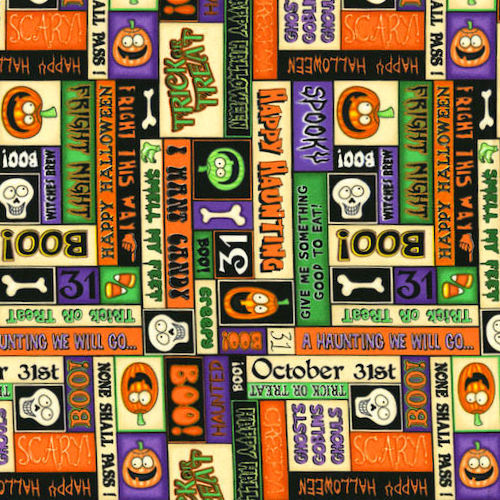 Cotton Quilt Fabric A Haunting We Will Go Halloween Patches Dan Morris - product images  of