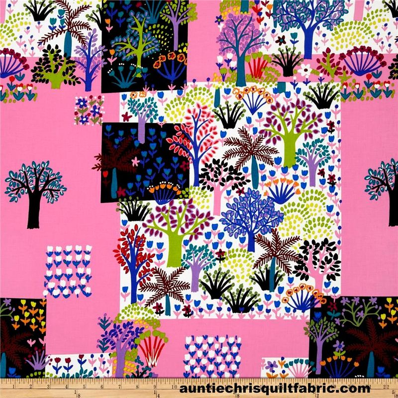 Cotton Quilt Fabric Folkorico Jardin Colorido Pink Alexander Henry - product images  of