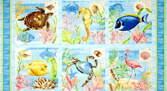 Cotton Quilt Fabric Seaside Wonders Panel Of Sea Life 24 X 44 Ocean - product images  of