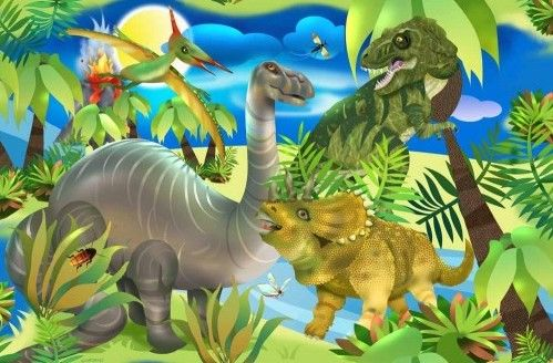 Cotton Quilt Fabric Dino Might Scenic Jungle Dinosaur T Rex Bronto Stego - product images  of