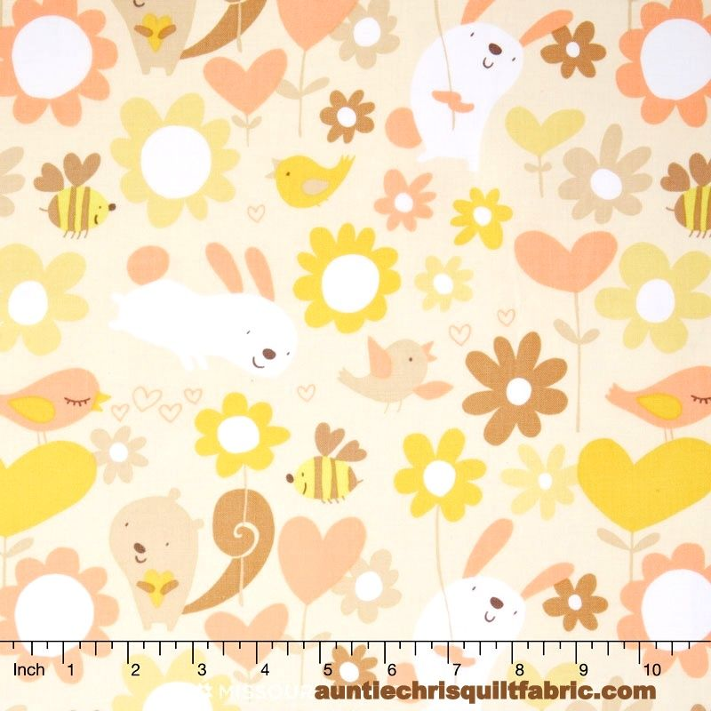 Cotton Quilt Fabric Sweetheart Hugs Buttercup Girls Hearts Bees Floal - product image