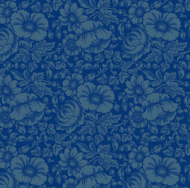 Cotton Quilt Fabric Gilded Flowers Large Floral Blue Tone On Tone - product image