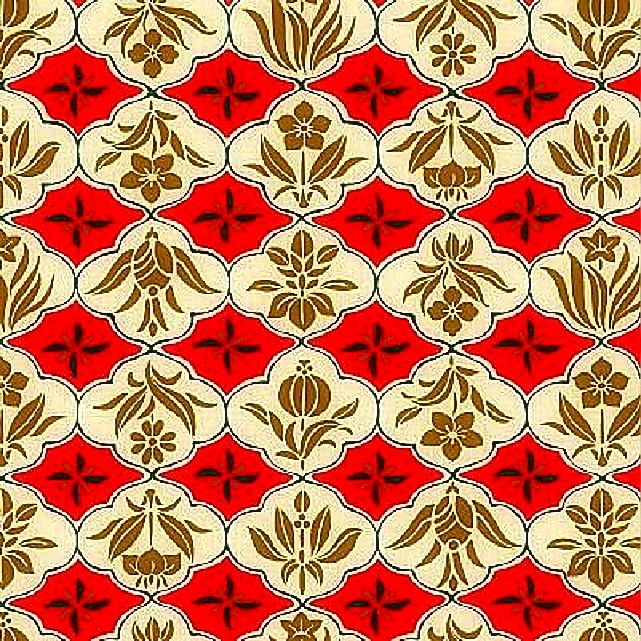Cotton Quilt Fabric Asian Hyakka Ryoran Modern Movement Floral Frames Red - product images  of