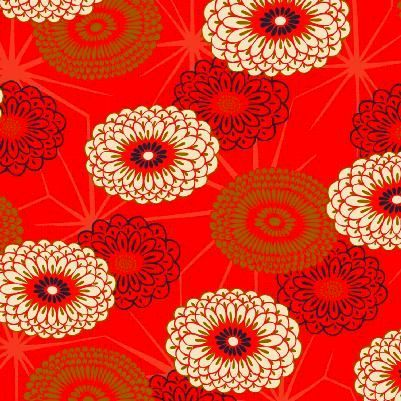 Cotton Quilt Fabric Asian Hyakka Ryoran Modern Movement Large Floral Red - product images  of