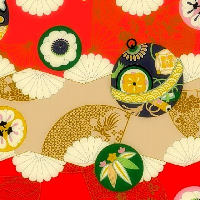 Cotton Quilt Fabric Asian Hyakka Ryoran Modern Movement Ornaments Fans Red - product images  of